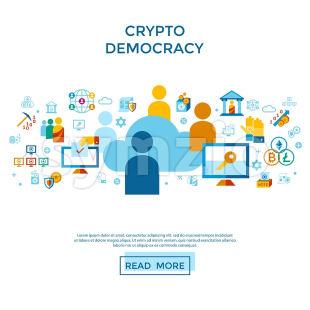 Digital vector crypto democracy and security icons set infographics Stock Vector