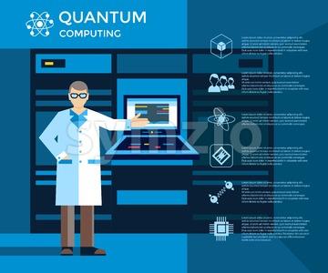 Digital vector quantum computing set infographics layout, engineer presentation Stock Vector