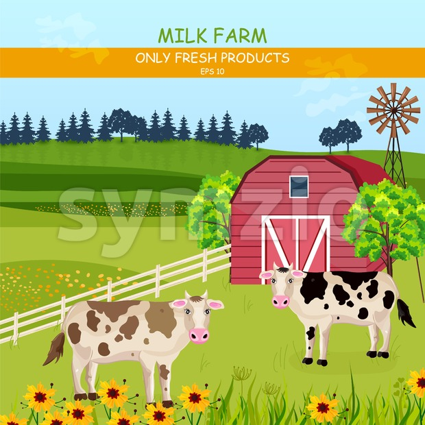Cows in the farm Vector. Green fields summer outdoors background Stock Vector