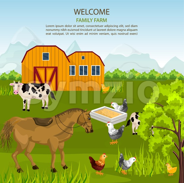 Big Family farm Vector. Cows, horse, chicken on green summer background illustration Stock Vector