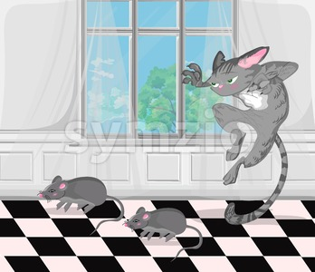 Cat chasing mouse Vector. cartoon character funny illustration Stock Vector