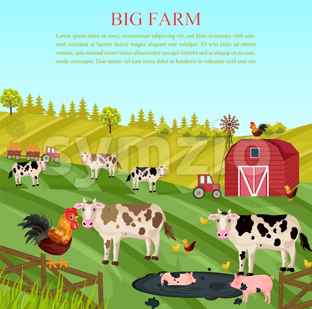 Cows and pigs animals at the farm Vector. summer green background Stock Vector