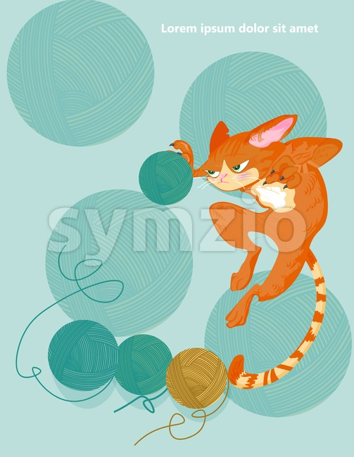 Cat and knitting ball Vector. Cartoon character funny illustration