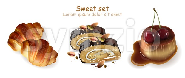 Sweet croissants, pistachio rolls and panna cotta desserts Vector. Realistic 3d illustration