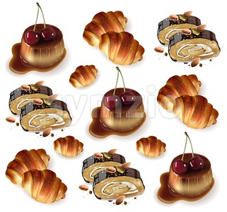 Sweet desserts pattern Vector. Pistachio rolls, croissants, panna cotta Realistic 3d illustration Stock Vector