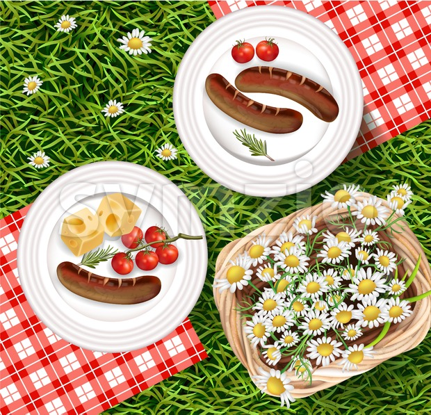 Summer Picnic outdoors realistic Vector. Grilled sausages on white plate with gigham pattern. Chamomile basket and green grass background Stock Vector