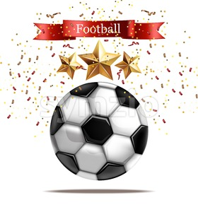 Soccer ball Vector realistic illustration. Football celebration. Sparkling stars 3d template Stock Vector