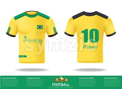 Football yellow t-shirts Vector. Design template for soccer jersey, football kit and tank top for basketball jersey. Sport uniform in front and back Stock Vector