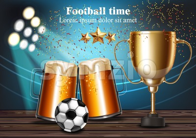 Beer mugs and Football cup on the stadium Vector. Winner champion concept Stock Vector
