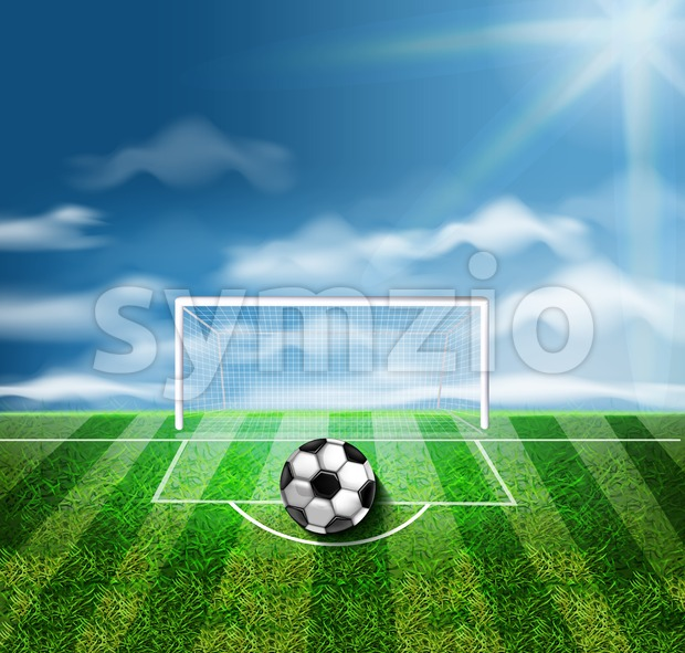 A soccer ball on the green stadium Vector 3d realistic illustration Stock Vector