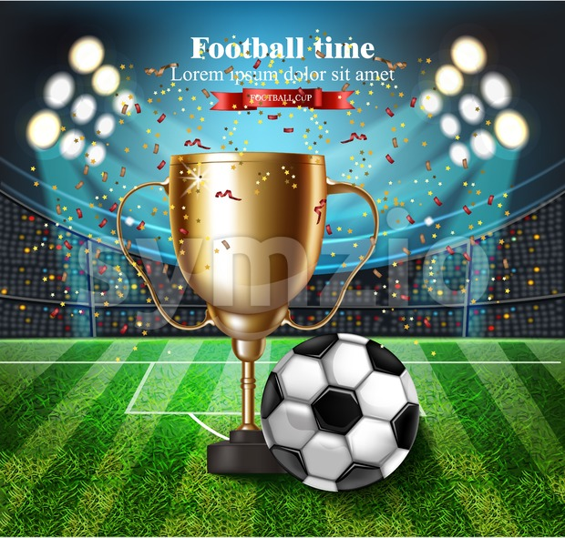 Football cup on the stadium Vector. Winner champion concept illustration