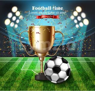 Football cup on the stadium Vector. Winner champion concept illustration Stock Vector