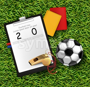 Scoreboard, soccer ball and whistle on green grass Vector illustration Stock Vector