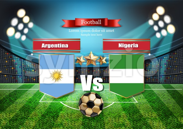 Football board Argentina flag VS Nigeria. 2018 World championship template match. teams soccer national flags. red and blue trend sport ...