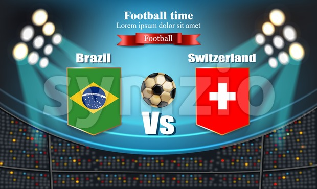 Football board Brazil flag VS Switzerland. 2018 World championship template match. teams soccer national flags. red and blue trend sport background Stock Vector