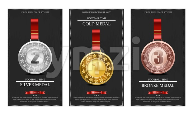 Golden, silver and bronze medals Vector illustration