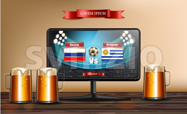 Tv screen with football match Vector realistic. Beer mugs on wooden table Stock Vector