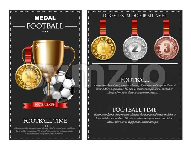Football prize and medals Vector realistic illustration. Winner cup poster banner