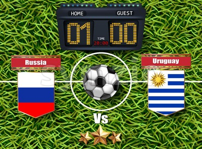 Russia vs Uruguay Football score board 2018 World championship Vector. Realistic template teams soccer national flags. green grass background Stock Vector