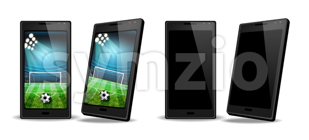 Smartphone with football score on screen Vector realistic. Sports betting online web banner template Stock Vector