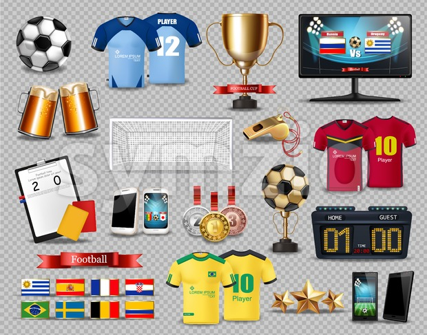 Football set collection Vector realistic. Mock up 3d detailed template. T shirts. football cup, beer, score, gates, flags etc