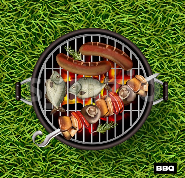 Picnic bbq Vector realistic. Green grass lawn background. Fish and sausages cooking on the grill illustration Stock Vector