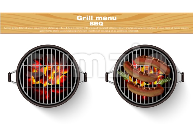 Grill bbq isolated Vector. Realistic hot fire bbq grilled sausage Stock Vector