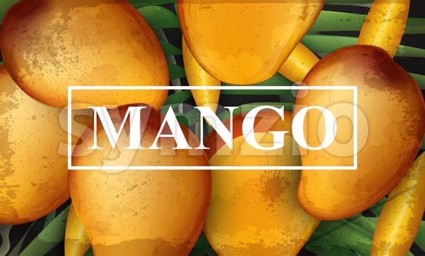 Mango banner background. Bunch of fresh sweet fruits 3d detailed illustration