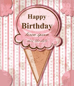 Happy birthday baby card with ice cream. Vector delicate pink vintage theme. pastel color Stock Vector