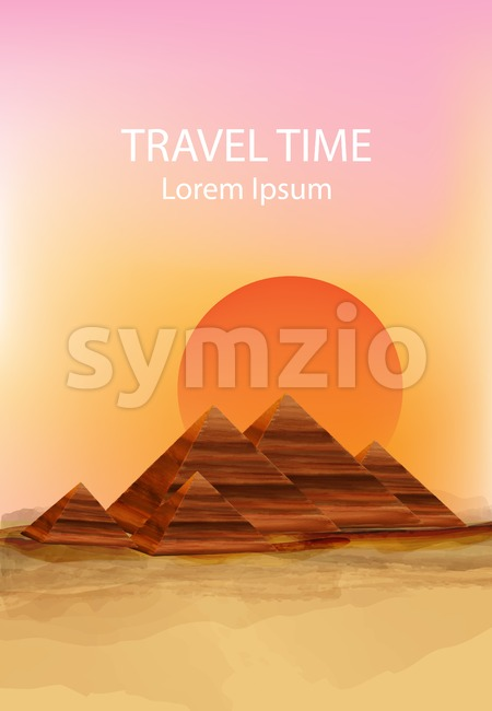 Sunset in the dessert Vector background. Hot summer sun over pyramids illustration