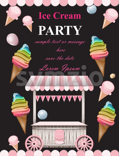 Ice cream party invitation card Vector. Summer ice cream stand. Birthday card or event poster Stock Vector