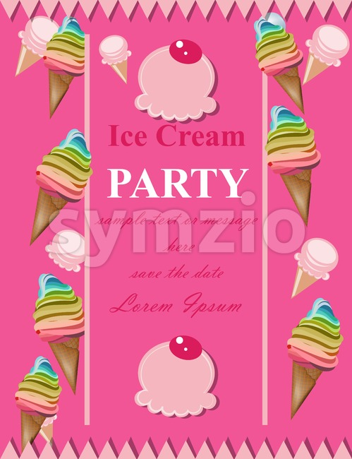 Ice cream pink party invitation card Vector. Summer birthday card or event poster Stock Vector