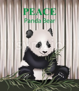Cute panda bear Vector. Lovely animal eating grass. Peace message text Stock Vector