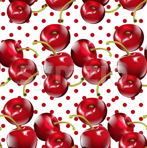 Cherry pattern Vector. Cherry fruits on Dotted background Stock Vector