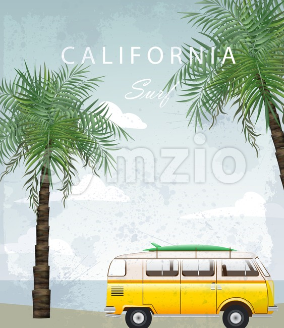 California Summer Travel card with camping car Vector. Camping trailer on palm trees background