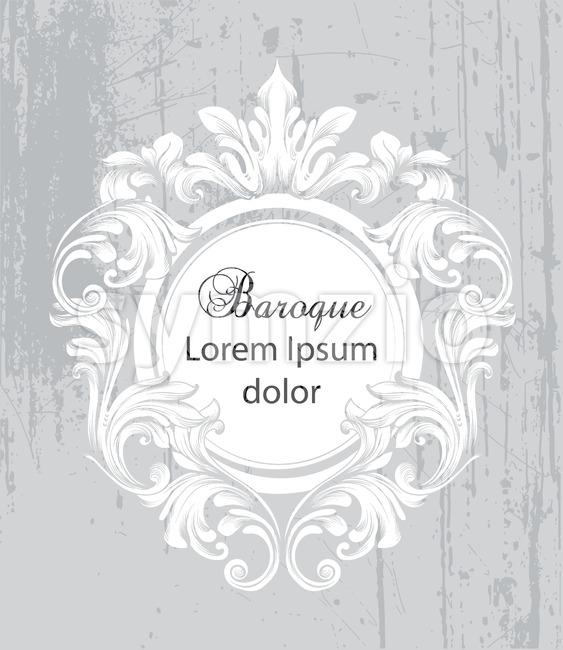 Vintage baroque frame card Vector. Detailed rich ornament illustration graphic line art