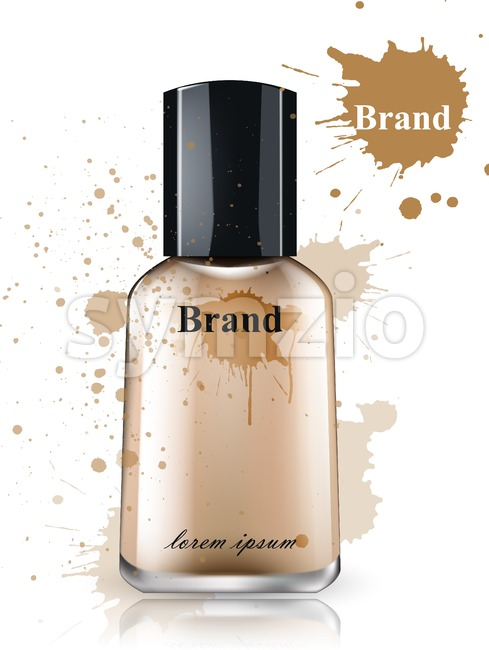 Face foundation bottle watercolor Vector. Product packaging designs. Brand mock up cosmetics template, delicate texture