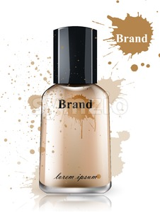Face foundation bottle watercolor Vector. Product packaging designs. Brand mock up cosmetics template, delicate texture Stock Vector