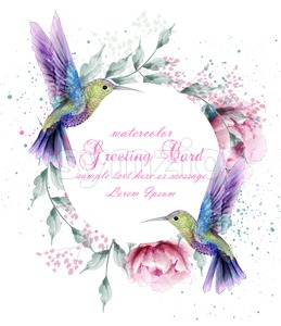 Greeting card with watercolor humming bird frame. Vector illustration Stock Vector