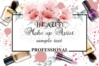 Vintage watercolor make up professional background Vector illustration Stock Vector
