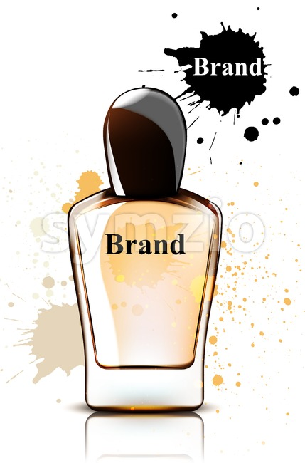 Perfume bottle watercolor Vector. Product packaging design. Brand mock up cosmetics template, delicate fragrance Stock Vector
