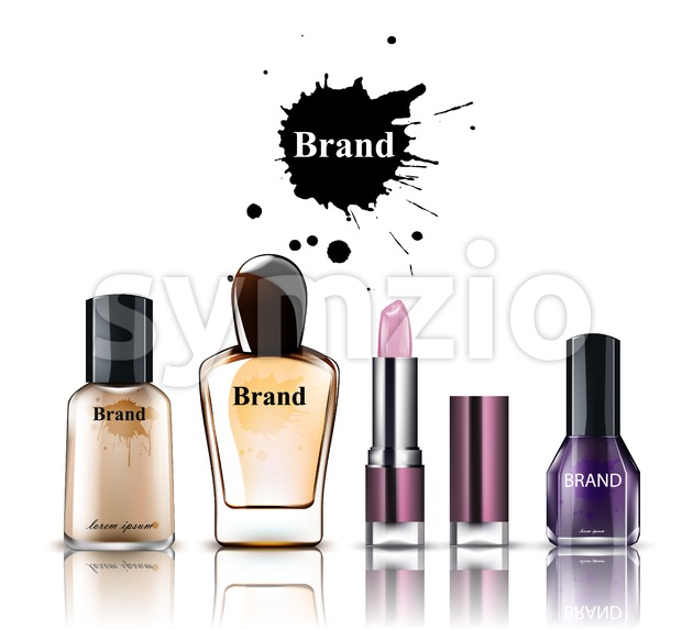 Cosmetics watercolor Vector. Product placement brand collection. Perfume, lipstick, nailpolish foundation Stock Vector