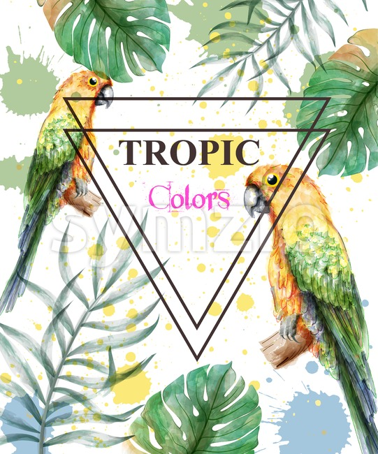 Tropical paradise with watercolor parrots and palm leaves card background Vector illustration Stock Vector