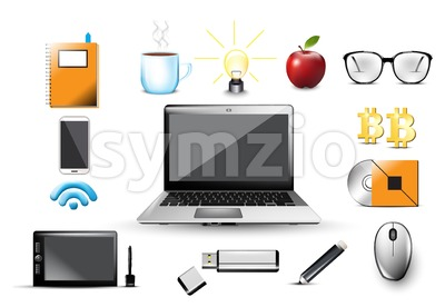 Work space Vector. Computer, usb, notebook, glasses, office tools elements Icons template illustration Stock Vector