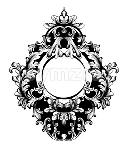 Baroque Round Frame Vector. Classic rich ornamented carved decors. Rococo sophisticated design Stock Vector