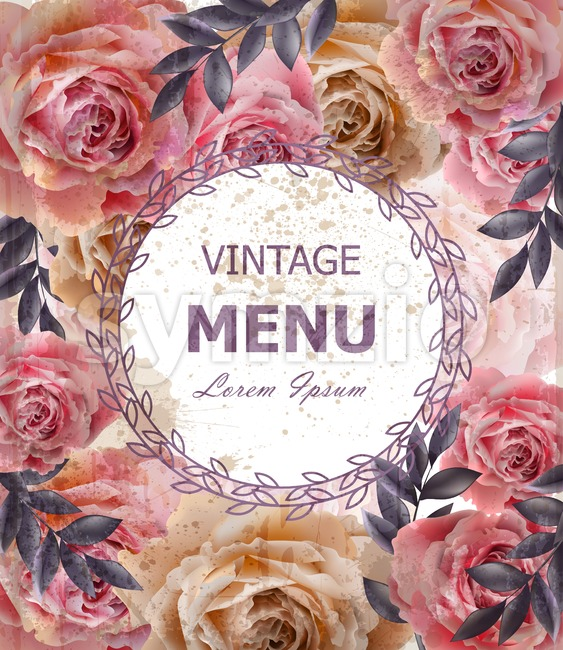 Vintage roses background Vector. Floral card retro decor