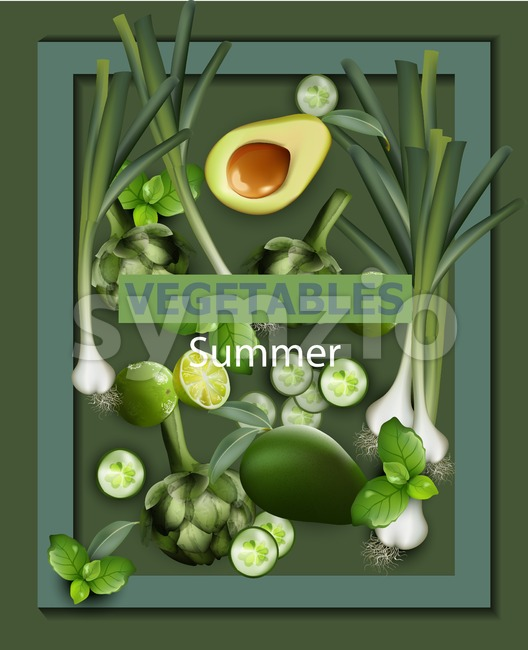 Vegetables background Vector. Green veggie organic illustration