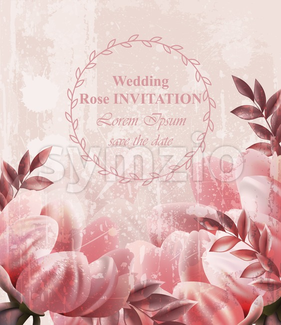 Wedding Invitation Vintage flowers Vector. Wallpaper floral decor beauty spring summer decor Stock Vector