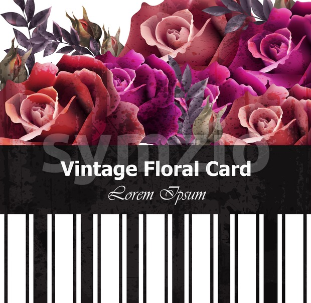 Vintage realistic roses floral card. Beautiful background. Retro design graphic styles template