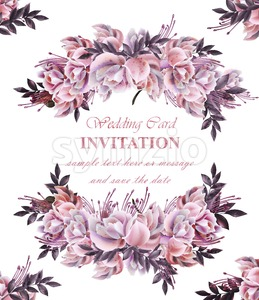Vintage Wedding card with roses wreath Vector. Beautiful flowers garland. Invitation elegant decor realistic 3d illustration Stock Vector